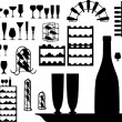 Vector set of different glass and bottles silhouettes — Stock Vector #4297595