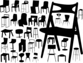 Big vector collection of chairs — Stock Vector