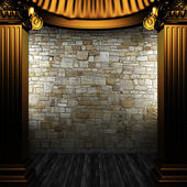 Bronze columns and wall — Stock Photo