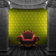 Stone columns, chair and wallpaper — Stock Photo