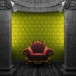 Stone columns, chair and wallpaper — Stock Photo #4484864