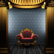 Bronze columns, chair and wallpaper — Stock Photo