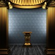 Bronze columns, pedestal and wallpaper — Foto de Stock