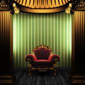 Brąz kolumny, krzesło i tapety — Zdjęcie stockowe