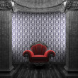 Stock Photo: Stone columns, chair and wallpaper
