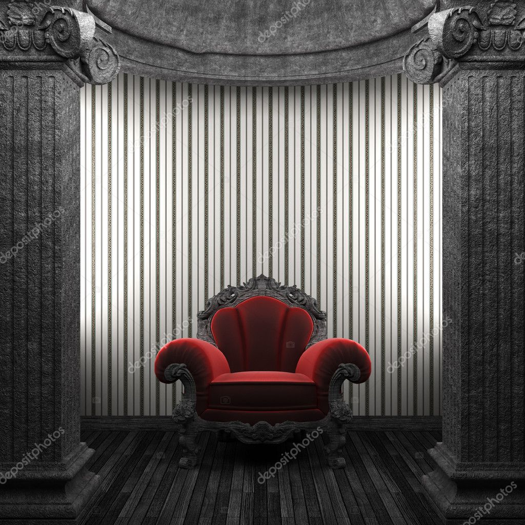 Stone columns, chair and wallpaper made in 3D — Stock Photo #4498827