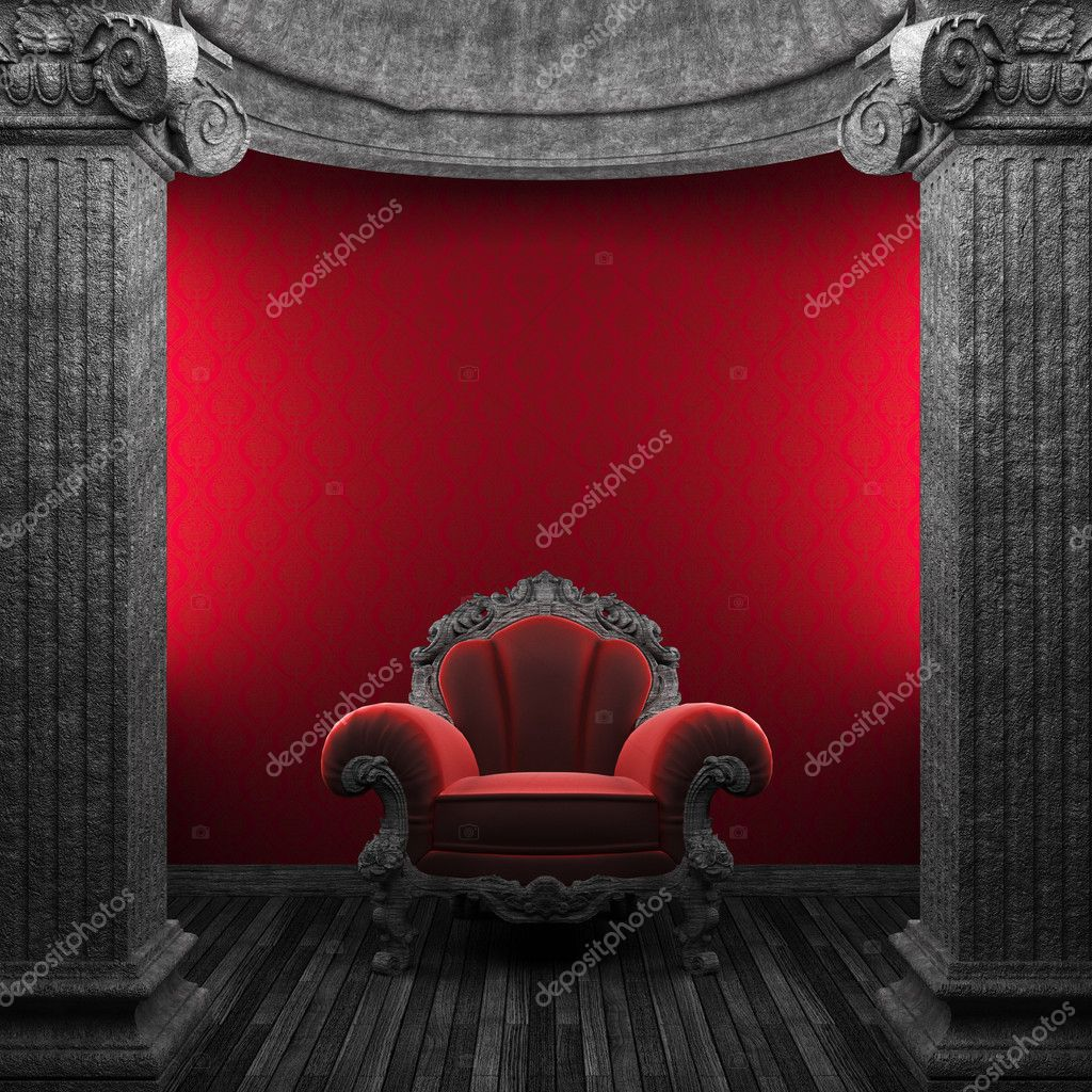 Stone columns, chair and wallpaper made in 3D — Stock Photo #4498829