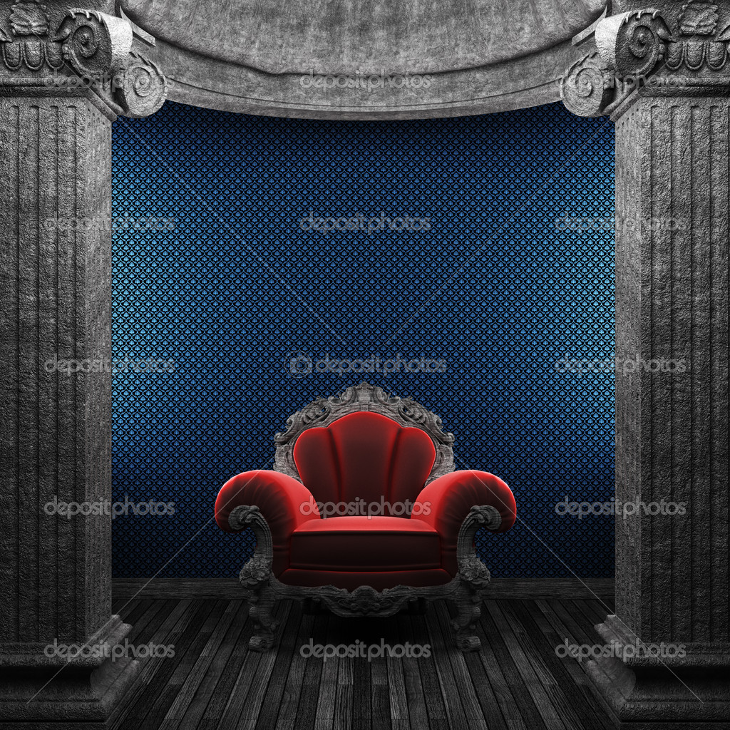 Stone columns, chair and wallpaper made in 3D — Stock Photo #4498837
