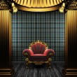 Bronze columns, chair and wallpaper - Stock Photo