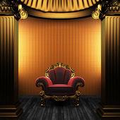 Bronze spalten, stuhl und wallpaper — Stockfoto