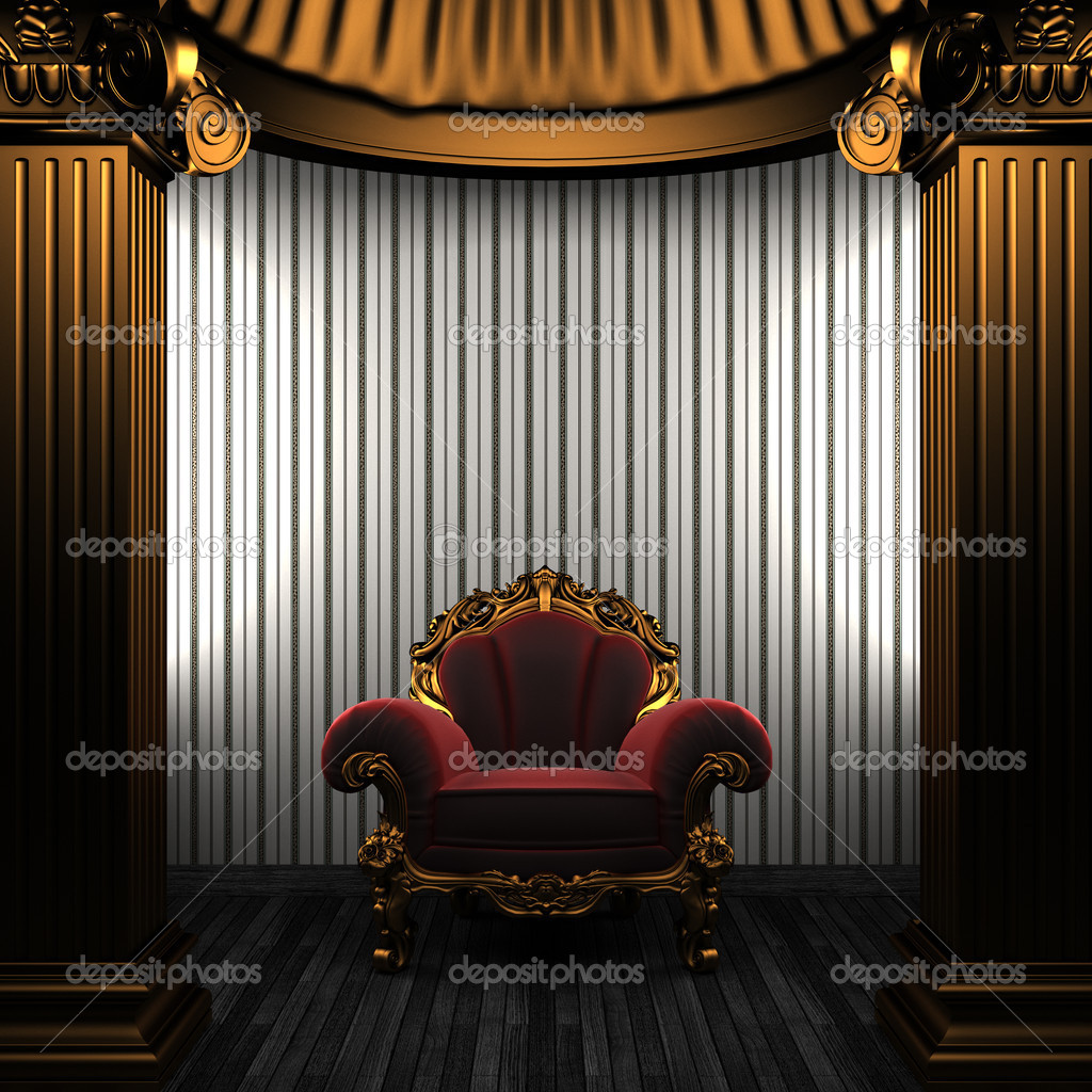 Bronze columns, chair and wallpaper made in 3D — Stock Photo #4501378