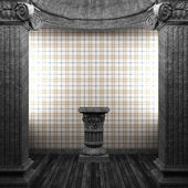 Bronze columns, pedestal and wallpaper — Stock Photo