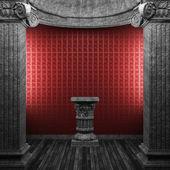 Papel de parede, pedestal e colunas de pedra — Foto Stock
