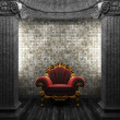 Stone columns, chair and tile wall - Stock Photo