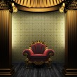 Bronze columns, chair and tile wall — Stock Photo #4539739