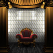 Bronze columns, chair and tile wall - 图库照片