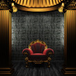 Bronze columns, chair and tile wall - Stock Photo