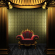 Bronze columns, chair and tile wall - Foto Stock