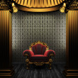 Bronze columns, chair and tile wall — Stock Photo