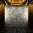 Bronze columns and tile wall — Stock Photo