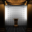 Bronze columns, pedestal and tile wall - Stock Photo