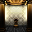 Bronze columns, pedestal and tile wall — Stock Photo #4545206