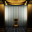 Bronze columns, pedestal and tile wall - Foto Stock