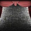 Red velvet curtain and stone wall - Foto de Stock