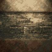Roestig metaal en houten plaat — Stockvector
