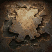 Placa de madeira e metal enferrujada — Vetor de Stock