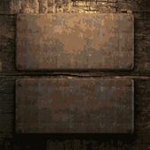 Piastra di legno e metallica arrugginita — Vettoriale Stock