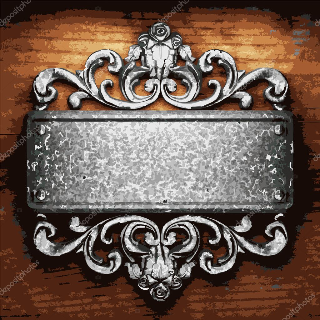 Iron ornament on wood made in vector — Stock Vector #4635975