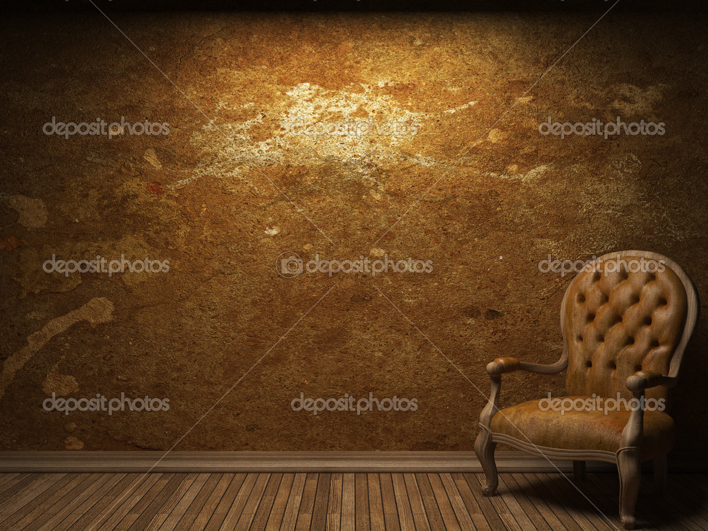 Old concrete wall and chair made in 3D graphics — Stock Photo #4978468