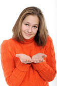 Young woman holding hand presenting a product. — Stock Photo