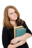 Girl with books, reflects, — Stock Photo