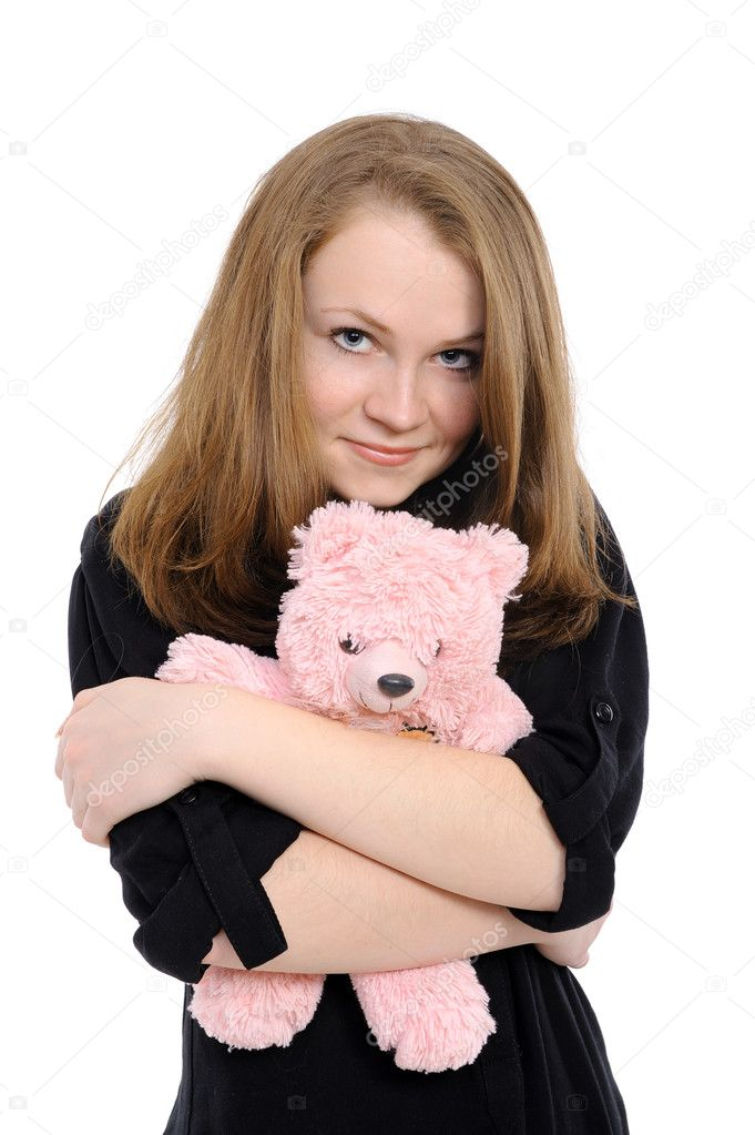  beautiful girl  embraces teddy bear   Stock Photo #4625510