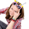 Young girl wearing silly glasses — Stockfoto