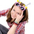 Young girl wearing silly glasses — Stock Photo