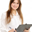 Стоковое фото: Businesswoman holding a folder