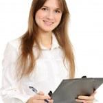 Businesswoman holding a folder — Stock Photo