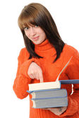 Girl with books, — Stock Photo