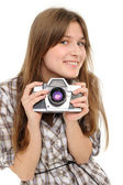 Pretty woman taking photo with vintage camera — Stock Photo