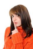 Młoda kobieta mówi ssshhh do zachowania milczenia — Zdjęcie stockowe