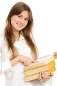 Young girl with long hair and book — Stock Photo