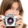 Woman taking photo with vintage camera — Stock Photo #5185049