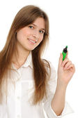 Woman drawing something on screen with a pen — Stock Photo