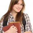 Girl with a backpack, holds the book — Foto Stock