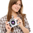Woman taking photo with vintage camera — Stockfoto