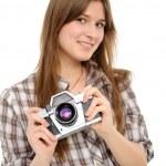 kadın alarak fotoğraf ile vintage fotoğraf makinesi — Stok fotoğraf