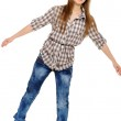 Happy young woman dreams to fly — Stock Photo